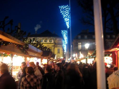 Marché de Noel de Strasbourg pendant la nuit